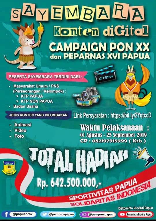 Pemprov Papua Sayembarakan Konten Digital Pon Hadiahnya Rp600